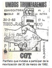 Panfleto que invitaba a participar de la movilización del 30 de marzo de 1982.