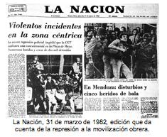 La Nación, 31 de marzo de 1982, edición que da cuenta de la represión a la movilización obrera.